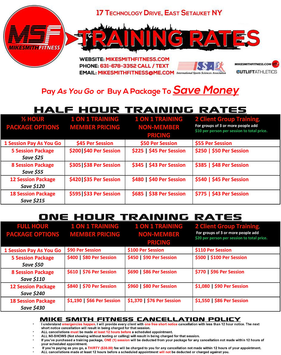 MSF Official Personal Training Rate Shee