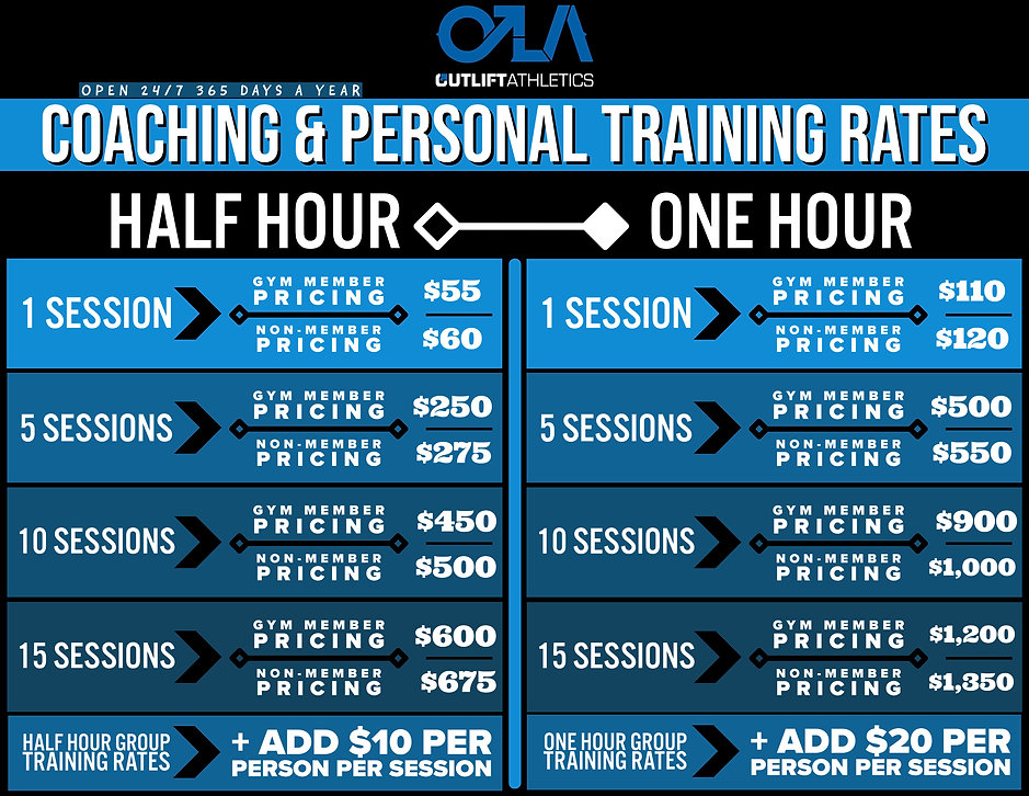 OLA PERSONAL TRAINING RATE SHEET GENERAL