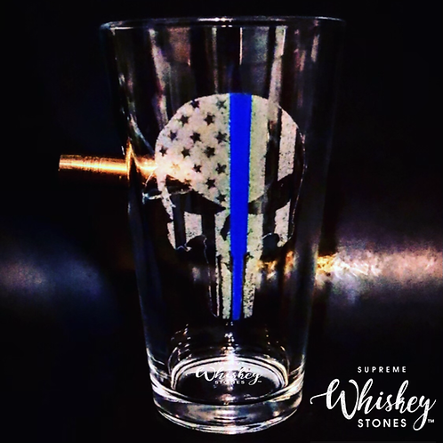 Thin Blue Line Punisher Pint Glass with bullet