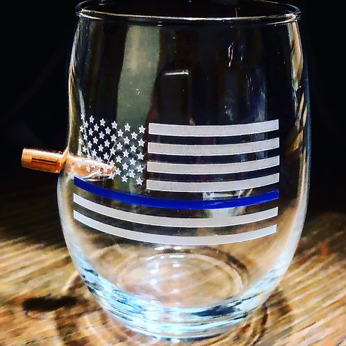 Thin Blue Line Wine Glass With Bullet