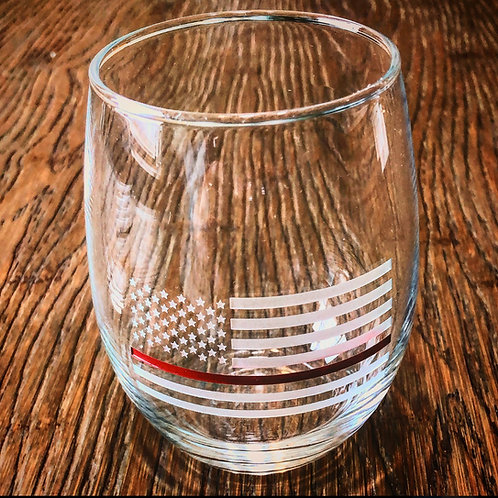 Thin Red Line Wine Glass Without Bullet