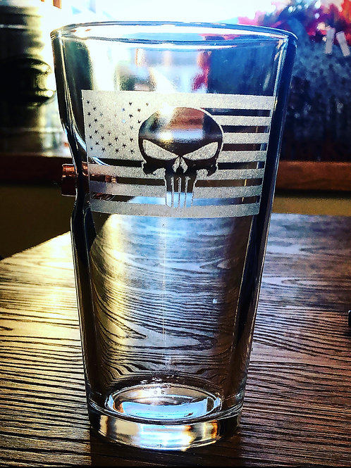 Punisher Flag 50 .cal Pint Glass