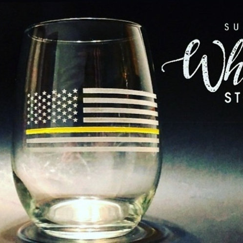 Thin Yellow Line Wine Glass with no bullet