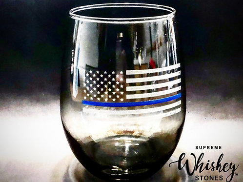 Thin Blue Line Tinted Wine Glass with no bullet