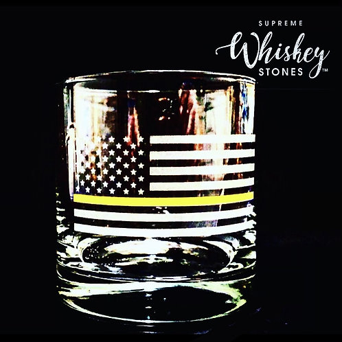 Thin Yellow Line Whiskey Glass with no bullet
