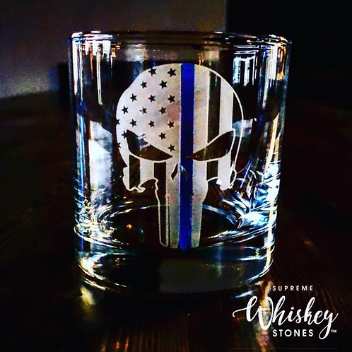 Thin Blue Line Punisher Whiskey Glass with no bullet