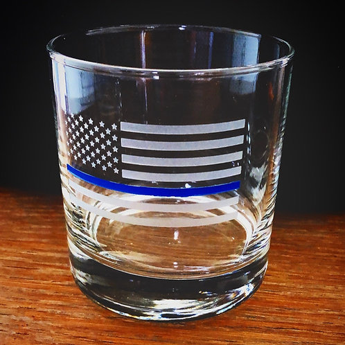 Thin Blue Line Rocks Glass With No Bullet