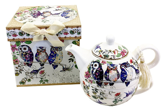 Owl Nestled Teapot and Cup Set