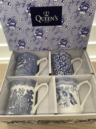 Queens 4 Mug Blue Story Collection - Gift Boxed