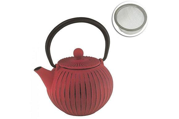 Avanti Ribbed Cast Iron Teapot Red 500ml