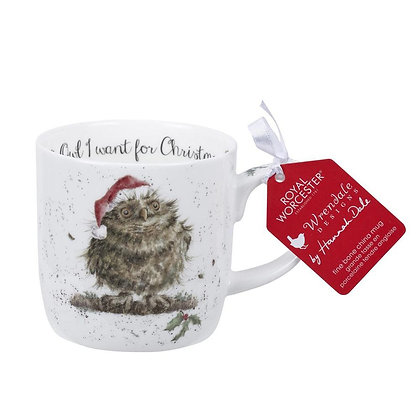 CHRISTMAS Royal Worchester Wrendale Mug - Owl I Want for Christmas