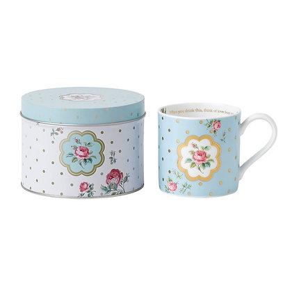 Royal Albert Polka Blue Mug in Tin