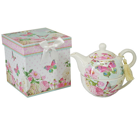 Butterfly Nestled Teapot and Cup Set