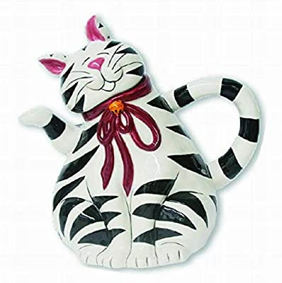 Cat - Black and White Strips - Teapot by Blue Sky Ceramics