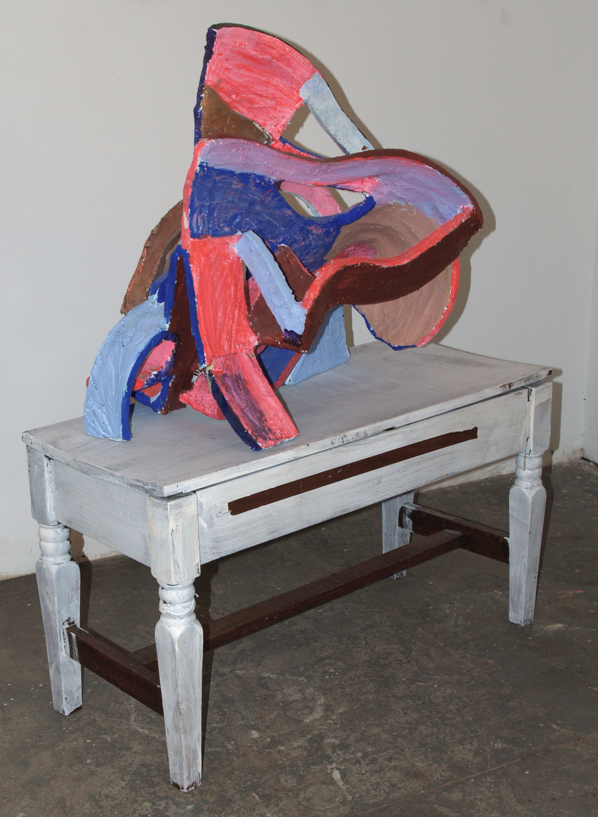 Pink, Blue, and Brown, 4x2x4ft, Feb09, Paint, Wood, and Acrylic Paint