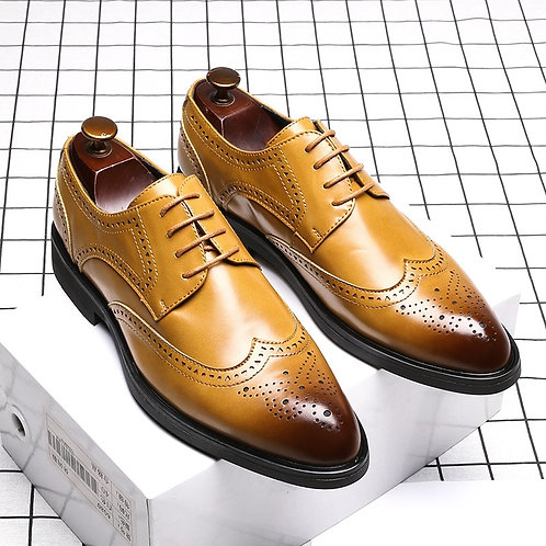 Men Shoes Handmade Carved Brogue Style Paty Leather Wedding Oxfords Formal Shoes