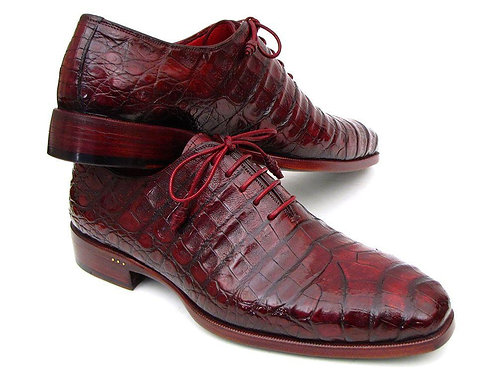 Paul Parkman Men's Bordeaux Genuine Crocodile Oxfords (ID#23XF55)