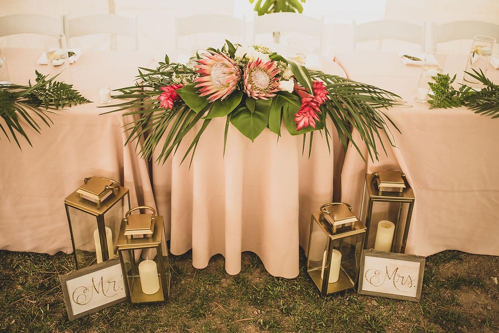 Tropical inspired mountain wedding