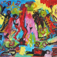 1.cosmic chaos acrylic spray paint pastel on paper 12 ft x4ft