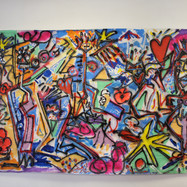 1.picasso on acid acrylic spray paint and posca pen on paper 7 ft x4ft