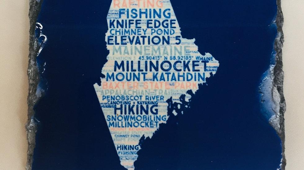 Maine Slate Coaster Blue