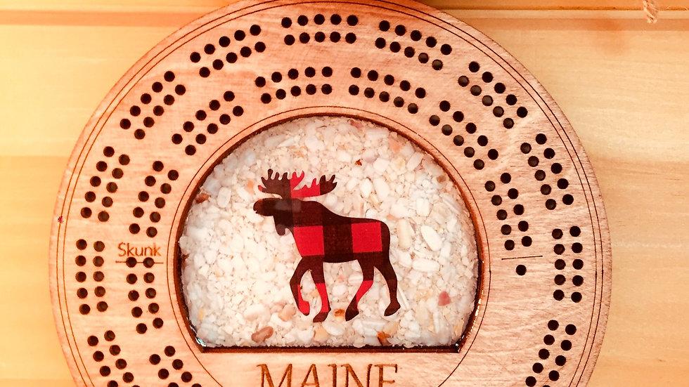 Maine Shellware Moose Cribbage/ Buffalo Plaid
