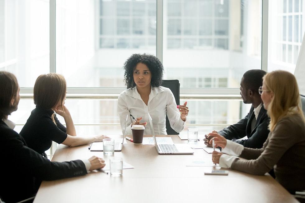 Black female boss leading corporate mult