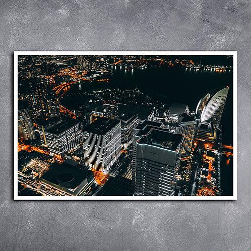 Quadro Noite em Yokohama Japão