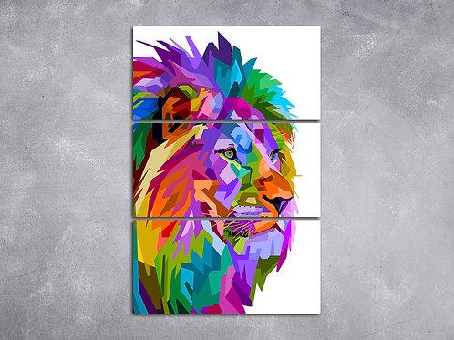 Quadro Leão Geométrico