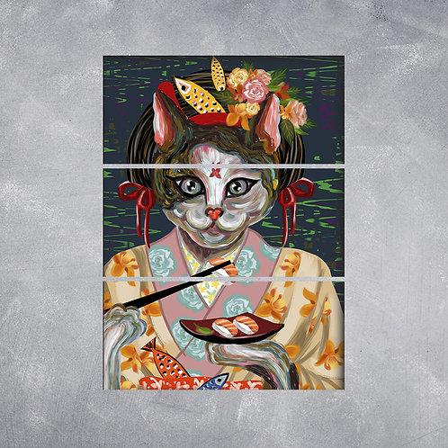 Quadro Gato Gueixa
