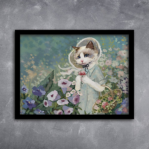 Quadro Gato no Jardim