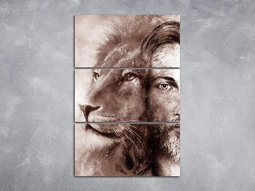 Quadro Leão e Jesus