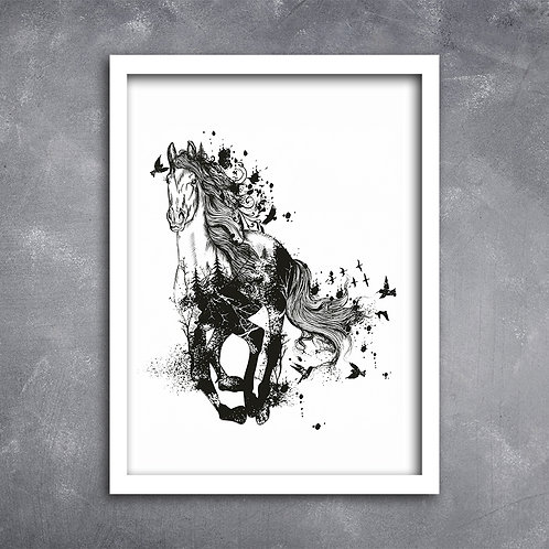 Quadro Cavalo Ilustração com Pássaros Pb