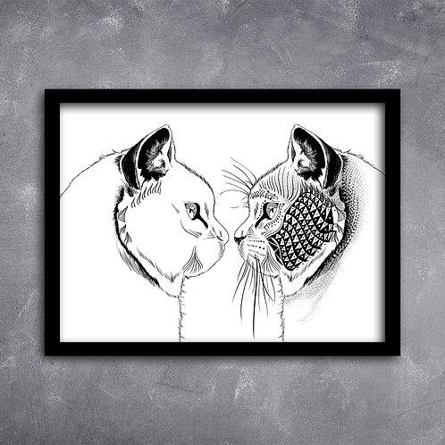 Quadro Ilustração Casal de Gatos