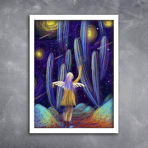 Quadro Anjo em Céu Estrelado