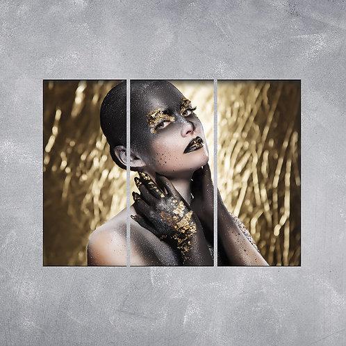 Quadro Maquiagem Preto e Dourado