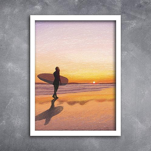 Quadro Ilustração Surfista
