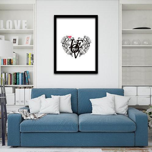 Quadro Love Coração Escrito