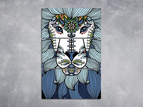 Quadro Leão Mandala Azul