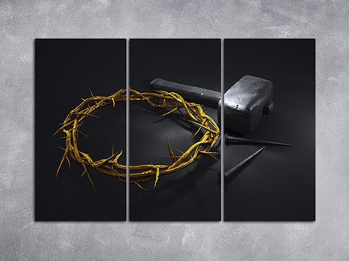 Quadro Coroa de Espinhos e Martelo