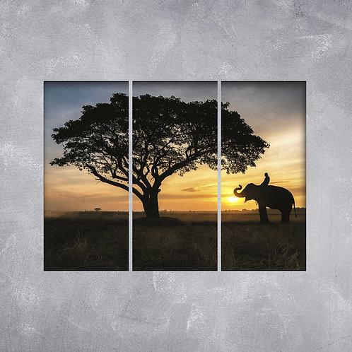 Quadro Elefante ao Pôr do Sol