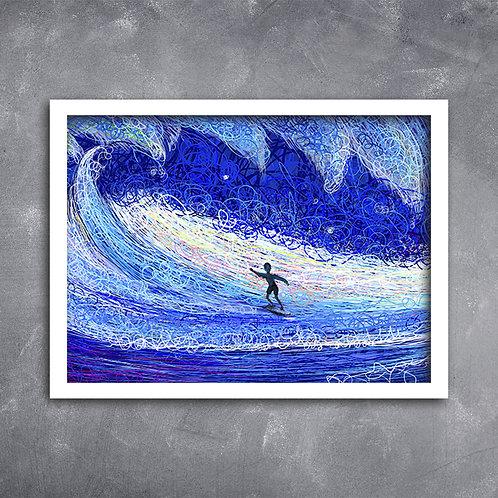 Quadro Ilustração Surfista Pegando Onda