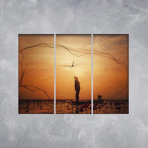 Quadro Pescaria ao Pôr do Sol