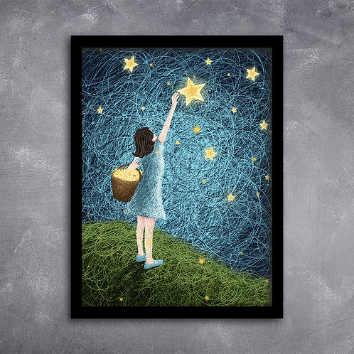 Quadro Ilustração  Sonho de Menina Céu Estrelhado