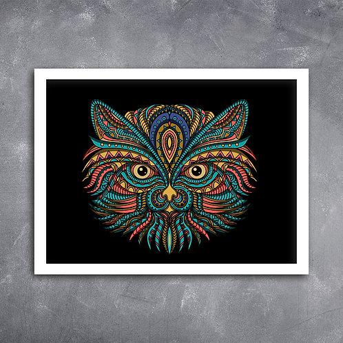 Quadro Gato Persa Mandala