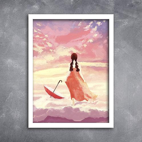 Quadro Ilustração Menina na Nuvem