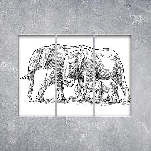 Quadro Família de Elefantes