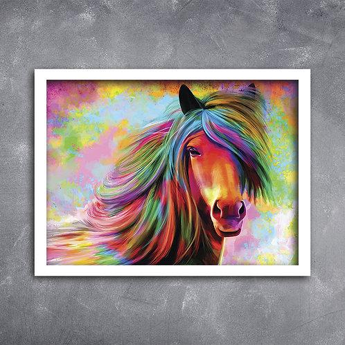 Quadro Cavalo Ilustração Arco Íris