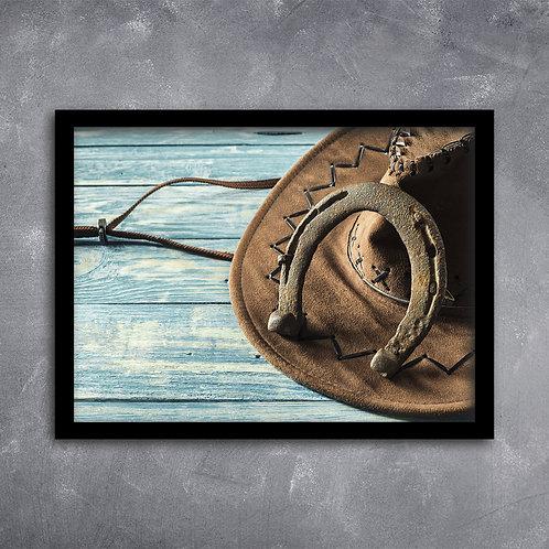 Quadro Ferradura de Cavalo e Chapéu