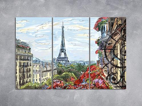 Quadro Ilustração Paris